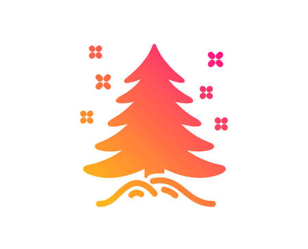 Illustration for Christmas tree present icon. New year spruce sign. Fir-tree symbol. Classic flat style. Gradient christmas tree icon. Vector - Royalty Free Image