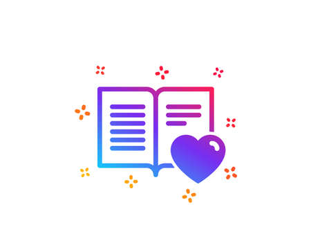 Illustration pour Love book icon. Feedback sign. Customer satisfaction symbol. Dynamic shapes. Gradient design love book icon. Classic style. Vector - image libre de droit