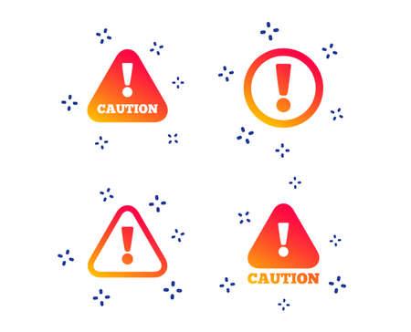 Ilustración de Attention caution icons. Hazard warning symbols. Exclamation sign. Random dynamic shapes. Gradient caution icon. Vector - Imagen libre de derechos
