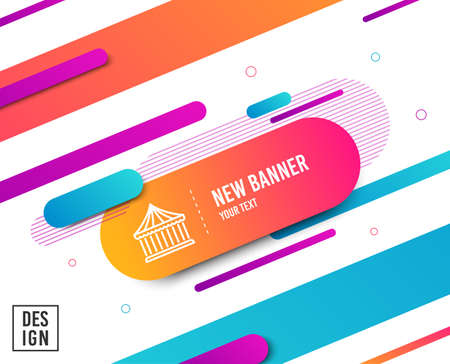 Illustration for Carousels line icon. Amusement park sign. Diagonal abstract banner. Linear carousels icon. Geometric line shapes. Vector - Royalty Free Image