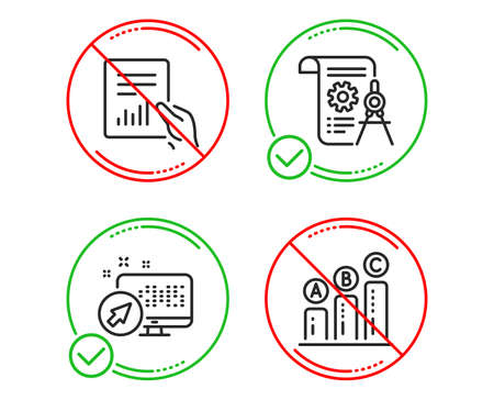 Illustration pour Do or Stop. Web system, Document and Divider document icons simple set. Graph chart sign. Computer, File with diagram, Report file. Growth report. Science set. Line web system do icon. Vector - image libre de droit