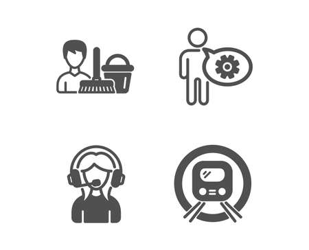 Illustration pour Set of Support, Cogwheel and Cleaning service icons. Metro subway sign. Call center, Engineering tool, Bucket with mop. Underground.  Classic design support icon. Flat design. Vector - image libre de droit