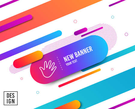 Illustration for Hand wave line icon. Palm sign. Diagonal abstract banner. Linear hand icon. Geometric line shapes. Vector - Royalty Free Image