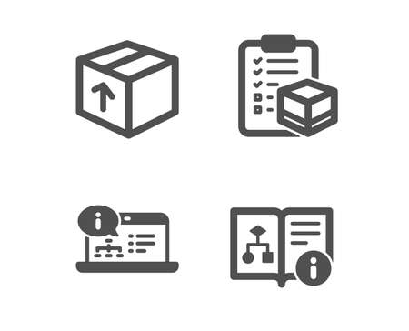 Illustration pour Set of Package, Online documentation and Parcel checklist icons. Technical algorithm sign. Delivery pack, Web engineering, Logistics check. Project doc.  Classic design package icon. Flat design - image libre de droit
