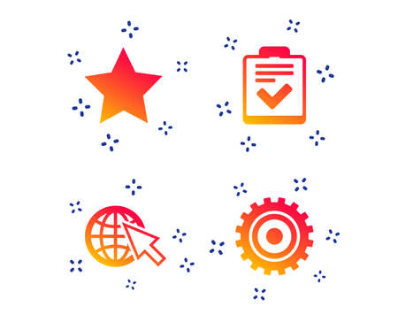 Illustration pour Star favorite and globe with mouse cursor icons. Checklist and cogwheel gear sign symbols. Random dynamic shapes. Gradient checklist icon. Vector - image libre de droit