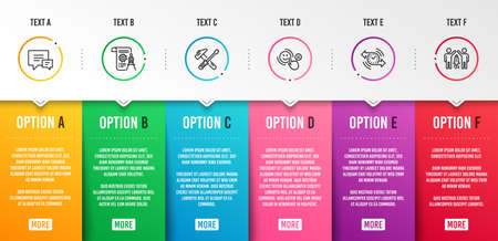 Illustration pour Divider document, Customer satisfaction and Hammer tool icons simple set. Timer, Comment and Partnership signs. Report file, Happy smile. Technology set. Infographic template. 6 steps timeline - image libre de droit