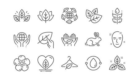 Illustration pour Organic cosmetics line icons. Slow fashion, synthetic fragrance, fair trade. Sustainable textiles, animal testing, eco organic icons. Linear set. Vector - image libre de droit