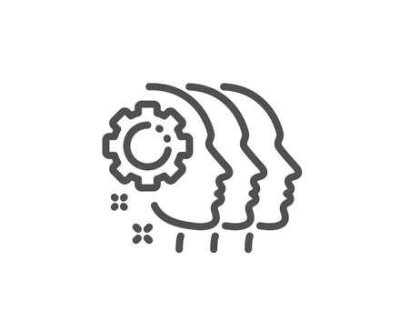 Illustration pour Employees teamwork line icon. Collaboration sign. Development partners symbol. Quality design element. Linear style employees teamwork icon. Editable stroke. Vector - image libre de droit