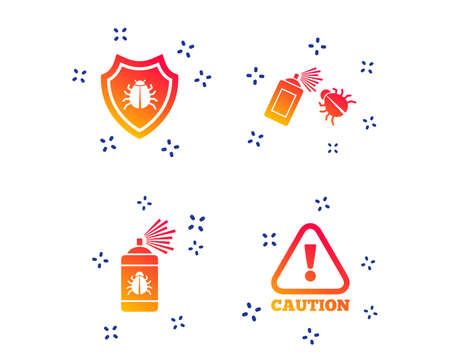 Illustration pour Bug disinfection icons. Caution attention and shield symbols. Insect fumigation spray sign. Random dynamic shapes. Gradient disinfection icon. Vector - image libre de droit