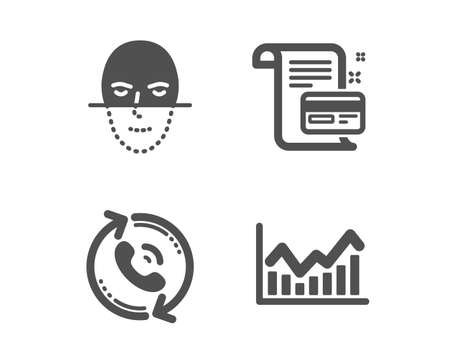 Illustration pour Set of Call center, Payment card and Face recognition icons. Infochart sign. Recall, Agreement conditions, Faces biometrics. Stock exchange.  Classic design call center icon. Flat design. Vector - image libre de droit