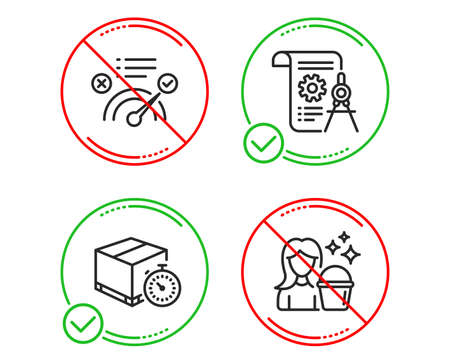 Illustration pour Do or Stop. Delivery timer, Correct answer and Divider document icons simple set. Cleaning sign. Express logistics, Approved, Report file. Maid service. Line delivery timer do icon. Vector - image libre de droit