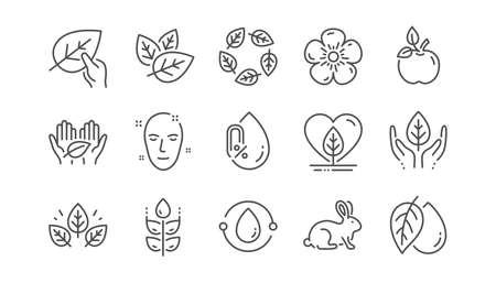 Ilustración de Organic cosmetics line icons. No alcohol free, synthetic fragrance, fair trade. Sustainable textiles, animal testing, eco organic icons. Linear set. Vector - Imagen libre de derechos