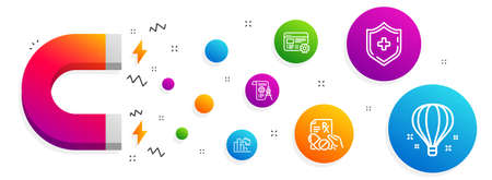 Illustration pour Magnet attracting. Web settings, Decreasing graph and Prescription drugs icons simple set. Divider document, Medical shield and Air balloon signs. Engineering tool, Column chart. Science set. Vector - image libre de droit