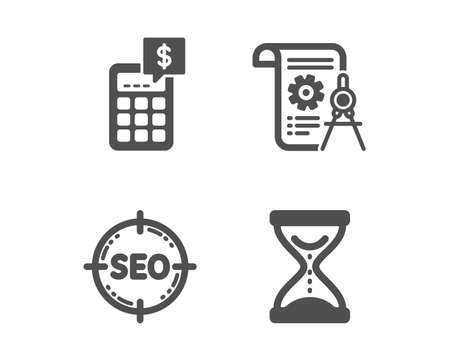 Illustration pour Set of Seo, Calculator and Divider document icons. Time hourglass sign. Search target, Money management, Report file. Sand watch.  Classic design seo icon. Flat design. Vector - image libre de droit