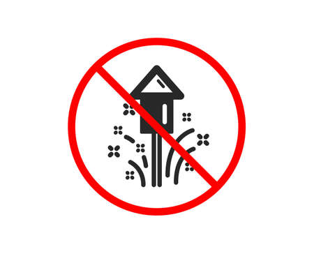 Illustration for No or Stop. Fireworks icon. Christmas or New year rocket sign. Pyrotechnic symbol. Prohibited ban stop symbol. No fireworks icon. Vector - Royalty Free Image