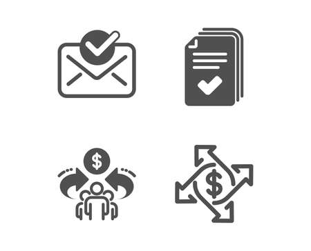 Illustration pour Set of Approved mail, Sharing economy and Handout icons. Payment exchange sign. Confirmed document, Share, Documents example. Money transfer.  Classic design approved mail icon. Flat design. Vector - image libre de droit