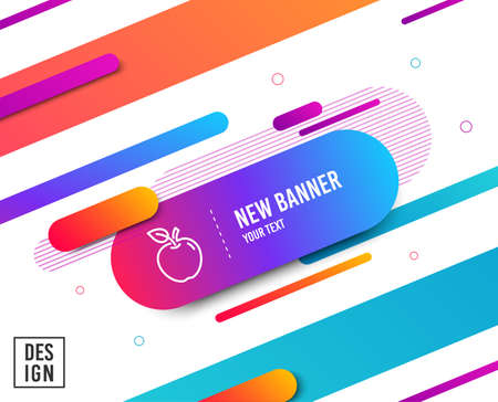 Illustration for Apple line icon. Fresh fruit sign. Natural food symbol. Diagonal abstract banner. Linear apple icon. Geometric line shapes. Vector - Royalty Free Image