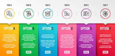 Illustration pour Drums, Divider document and Skin moisture icons simple set. User, Identification card and Creativity signs. Drumsticks, Report file. Business set. Infographic template. 6 steps timeline. Vector - image libre de droit