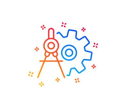 Illustration pour Cogwheel dividers line icon. Engineering tool sign. Cog gear symbol. Gradient design elements. Linear cogwheel dividers icon. Random shapes. Vector - image libre de droit
