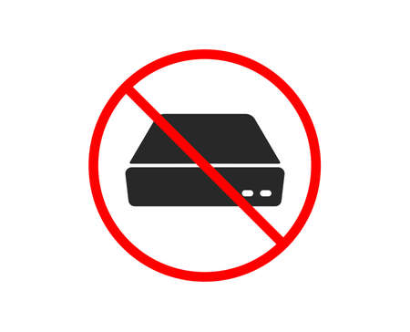 Illustrazione per No or Stop. Mini pc icon. Small computer device sign. Prohibited ban stop symbol. No mini pc icon. Vector - Immagini Royalty Free