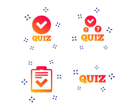 Illustration pour Quiz icons. Checklist with check mark symbol. Survey poll or questionnaire feedback form sign. Random dynamic shapes. Gradient quiz icon. Vector - image libre de droit