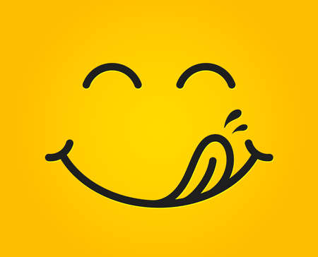 Illustration for Yummy smile emoticon with tongue lick mouth. Tasty food eating emoji face. Delicious cartoon with saliva drops on yellow background. Smile face line design. Savory gourmet. Yummy vector - Royalty Free Image