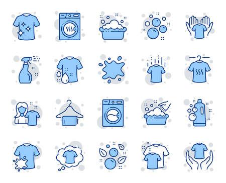 Ilustración de Laundry line icons. Dryer, Washing machine and dirt shirt. Hand washing, soap bubbles in basin icons. Dry t-shirt, laundry service, dirty smudge spot. Clean clothes. Vector - Imagen libre de derechos