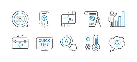 Illustration pour Set of Science icons, such as Weather thermometer, Web tutorials, First aid, Divider document, Graph chart, Target path, 360 degrees, Ab testing, Augmented reality, Energy line icons. Vector - image libre de droit