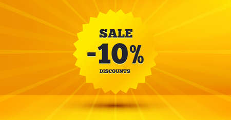 Illustration for Discount banner shape. Sale 10 percent off badge. Coupon star icon. Abstract yellow background. Modern concept design. Banner with offer badge. Vector - Royalty Free Image