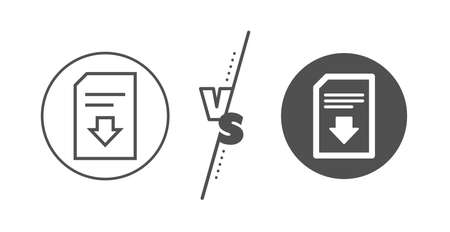 Illustration pour Information File sign. Versus concept. Download Document line icon. Paper page concept symbol. Line vs classic download file icon. Vector - image libre de droit