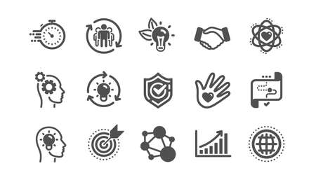 Illustration pour Core values icons. Integrity, Target purpose and Strategy. Helping hand, social responsibility, commitment goal icons. Classic set. Quality set. Vector - image libre de droit