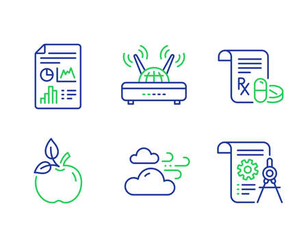 Illustration pour Windy weather, Eco food and Medical prescription line icons set. Wifi, Report document and Divider document signs. Cloud wind, Organic tested, Medicine drugs. Internet router. Science set. Vector - image libre de droit