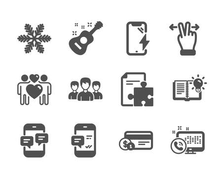 Ilustración de Set of Business icons, such as Snowflake, Smartphone charging, Smartphone notification, Phone messages, Guitar, Love couple, Payment method, Product knowledge, Touchscreen gesture, Group. Vector - Imagen libre de derechos