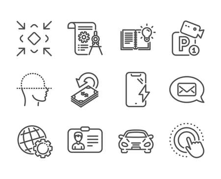 Illustration pour Set of Technology icons, such as Globe, Smartphone charging, Product knowledge, Divider document, Parking security, Face scanning, Identification card, Cashback, Click hand, Minimize, Car. Vector - image libre de droit