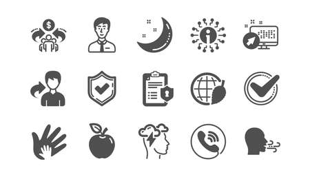 Illustrazione per Check mark, Sharing economy and Mindfulness stress icons. Privacy Policy, Social Responsibility. Classic icon set. Quality set. Vector - Immagini Royalty Free
