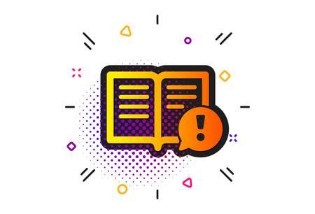 Ilustración de Exclamation mark sign. Halftone circles pattern. Interesting facts icon. Book symbol. Classic flat facts icon. Vector - Imagen libre de derechos