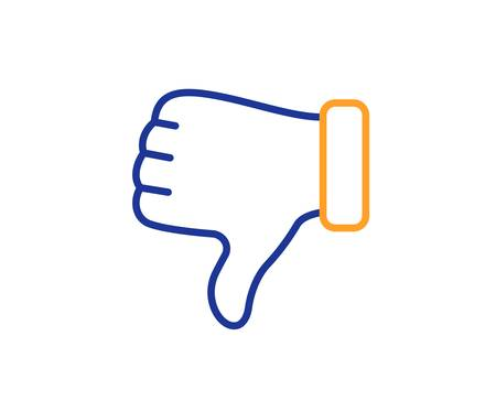 Illustrazione per Thumbs down finger sign. Dislike hand line icon. Gesture symbol. Colorful outline concept. Blue and orange thin line dislike hand icon. Vector - Immagini Royalty Free