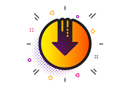 Illustration pour Down arrow sign. Halftone circles pattern. Download icon. Discount symbol. Classic flat download arrow icon. Vector - image libre de droit