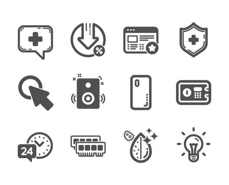 Illustration pour Set of Technology icons, such as Medical shield, Click here, Idea, 24h service, Loan percent, Smartphone cover, Dirty water, Ram, Speakers, Safe box, Favorite, Medical chat classic icons. Vector - image libre de droit