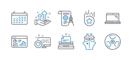 Illustration pour Set of Technology icons, such as Laptop, Heart, Typewriter, Ship, Seo statistics, Analysis graph, Loyalty star, Divider document, Calendar, Chemical hazard line icons. Computer, Social media. Vector - image libre de droit