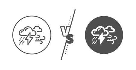 Illustrazione per Bad weather sign. Versus concept. Clouds with raindrops, lightning, wind line icon. Line vs classic bad weather icon. Vector - Immagini Royalty Free