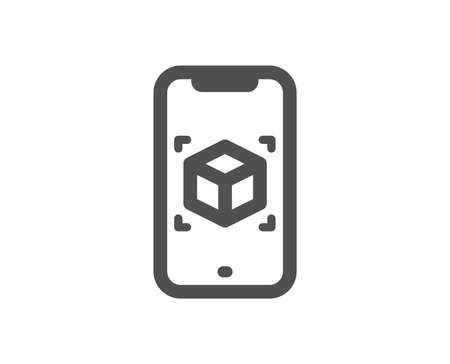 Illustration for VR simulation sign. Augmented reality phone icon. 3d cube symbol. Classic flat style. Simple augmented reality icon. Vector - Royalty Free Image