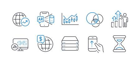 Illustration pour Set of Science icons, such as Financial diagram, World money, World statistics, Servers, Swipe up, Euler diagram, Report statistics, Augmented reality, Employee results, Time line icons. Vector - image libre de droit