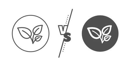 Ilustración de Grow plant leaf sign. Versus concept. Leaves line icon. Environmental care symbol. Line vs classic leaves icon. Vector - Imagen libre de derechos