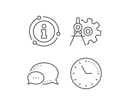 Illustration pour Cogwheel dividers line icon. Chat bubble, info sign elements. Engineering tool sign. Cog gear symbol. Linear cogwheel dividers outline icon. Information bubble. Vector - image libre de droit