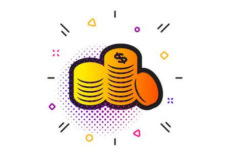 Illustration pour Banking currency sign. Halftone circles pattern. Coins money icon. Cash symbol. Classic flat banking money icon. Vector - image libre de droit