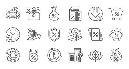 Ilustración de Loan line icons. Investment, Interest rate and Percentage diagram. Car leasing linear icon set. Quality line set. Vector - Imagen libre de derechos