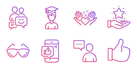 Ilustración de Users chat, Student and Hold heart line icons set. Eyeglasses, Loyalty program and Communication signs. Mobile like, Like symbols. Communication concept, Graduation cap. People set. Vector - Imagen libre de derechos