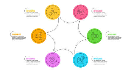 Illustration pour Chemical hazard, Cogwheel dividers and Gears signs. Infographic timeline. Cogwheel, Share idea and Seo stats line icons set. Engineering tool, Solution, Toxic. Settings. Science set. Vector - image libre de droit