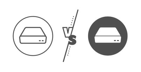 Illustrazione per Small computer device sign. Versus concept. Mini pc line icon. Line vs classic mini pc icon. Vector - Immagini Royalty Free